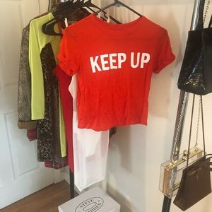 Tops - Bright Red Crop Top T-Shirt